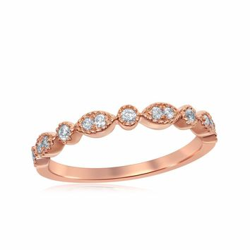14kt Rose Gold Womens Round Diamond Milgrain Stackable Band Ring 1/6 Cttw