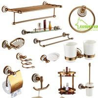 Antique European Brushed Aluminum and Porcelain Bathroom Hardware