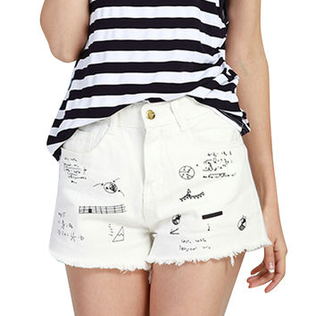Summer 2017 Graffiti Printed White Denim Shorts Women High Waist Loose Casual Sexy Fashion Female Short Pants Jeans Plus Size