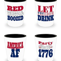 Fourth of July Shot Glasses - America As Eff Patriotic Variety Set of 4 July 4th Funny Shot Glasses - Ceramic