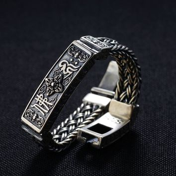 FNJ 925 Silver Weave Bracelet Wire-cable Link 20.5cm Rope Chain Thai S925 Silver Bracelets for Men Jewelry