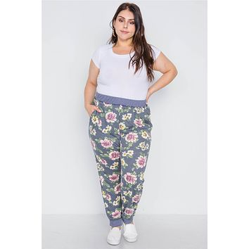 Plus Size Blue Floral Print Knit Joggers Pants Beautiful Womens Plus Size Fashion Styles Trends Outfits On A Budget