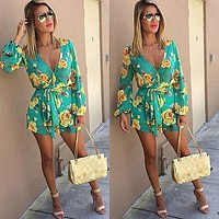 Women's Mint with Yellow Roses V-Neck Long Sleeve Shorts Romper