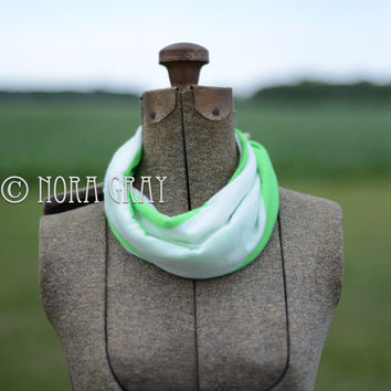 Kid's Infinity Scarf - Neon Green & White Striped Knit Infinity - Circle Scarf