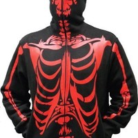 Full-Zip Up Skeleton Print Adult Hooded Sweatshirt Hoodie Costume with Face Mask