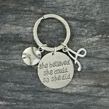 Personalized Initial Softball Keychain