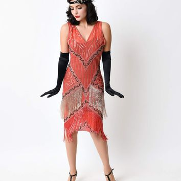 Iconic by UV 1920s Style Coral Beaded Remarque Fringe Chiffon Flapper Dress