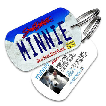 South Dakota License Plate Pet Tag - Personalized Pet ID Tags, Custom Dog Tags, Cat ID Tag, Dog Name Tags, Dog Tags for Dog, Dog License Tag