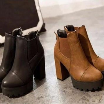 High Heels Shoes Woman Round Toe Martin Boots Thick Heel Platform Ankle Boots