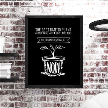 The Best Time to Plant a Tree was 20 Years Ago. The Second Best Time is Now /  Motivational Typography Chalkboard Retro Vintage Poster Style