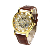 Hot selling men watches top brand luxury Imitation mechanical watches man PU leather strap quartz wristwatches relogio masculino