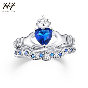 Exquisite Love Design Crown Hand Heart Clah-Duh Claddagh Ring Set Sliver Color Blue CZ Crystal Rings for Women R616