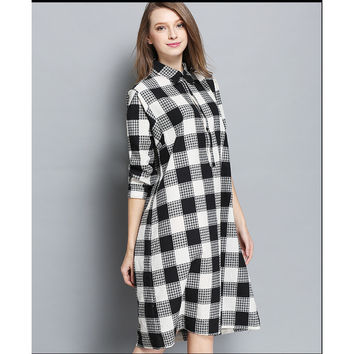 European And American Women Fat MM Spring Big Yards Long Printing The Original Black And White Plaid Shirt