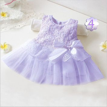 Lace flower wedding dress baby girls christening cake dresses for party occasion kids 0-2 year baby girl birthday dress H598