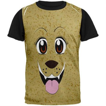LMFCY8 Anime Dog Face Inu Adult Black Back T-Shirt