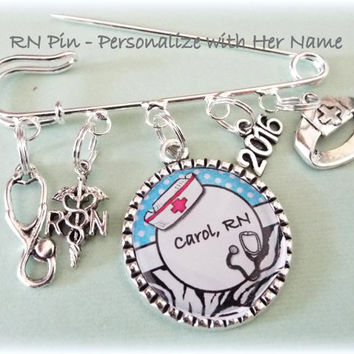 Nurse Graduation Gift,  RN Name Pin for Graduation, Personalized Nurses Pin, Congratulations Gift for Nurse