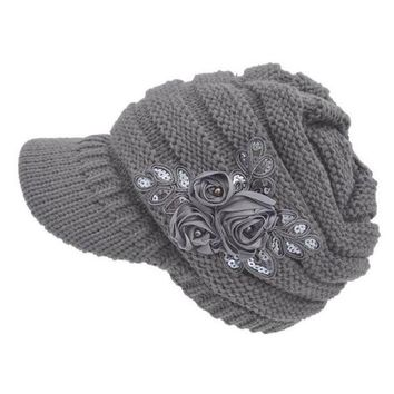 LMFG8W 2017 New Women's Cable Knit Visor Hat With Flower Accent Dropshipping L602