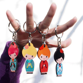 Bag charm, Cute keychain , Kawaii key chain, Japanese geisha kokeshi doll print on decorative keyring, Stocking filler, Free shipping