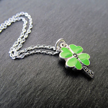 Clover necklace, st. Patricks day jewelry, four leaf clover, Irish necklace, sterling silver, marcasite