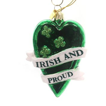 Noble Gems IRISH GLASS ORNAMENT Glass Saint Patricks Day Clover Nb0819 Heart