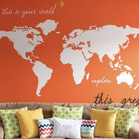 """Large World Map Wall Decal - """"this is your world - explore"""" - 7 ft wide decal - ohdeedoh - orange apartment therapy nursery Kyler's playroo"""