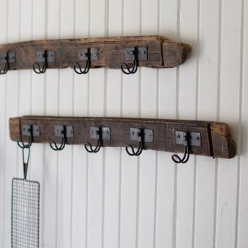 Set of 2 Recycled Wood Coat Racks With Five Wire Hooks