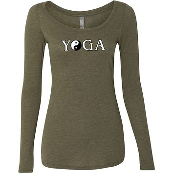 Yoga Clothing For You Yin Yang Yoga Text Triblend Long Sleeve Yoga Tee Shirt