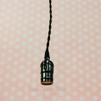 Single Pearl Black Socket Pendant Light Lamp Cord Kit w/ Dimmer (11FT, UL Listed, Brown Cloth) on Sale Now! | Pendant Cord Kit Lights | Cheap Cord Kits for Edison Bulbs at Bulk Wholesale Best Prices