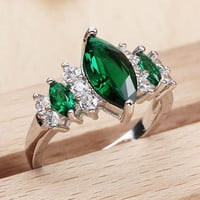 Fashion Sterling Silver Marquise Cut Emerald Ring