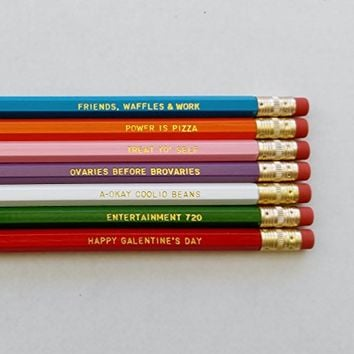 Parks and Recreation TV Show Gift Engraved Pencil Set Gold Foil Pencil Set Engraved Pencils Funny Pencils Gift for College Student Gift