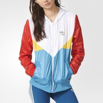 ADIDAS Women Fashion Multicolor Print Sport Cardigan Jacket Coat Windbreaker