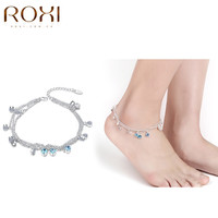ROXI Vintage Fashion Anklets For Women Stainless Steel Blue Crystal Shoe Boot Chain Bracelet Top Quality Foot Lady Girl Jewelry