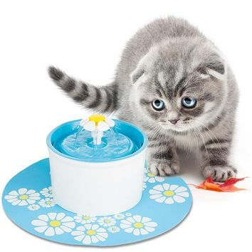 1.5L Flower Fountain New Automatic Cat Dog Kitten Water Drinking Fountain Pet Bowl Drink Dish Filter For Dog Cat