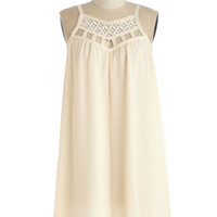 ModCloth Boho Mid-length Spaghetti Straps Shift, Tent Treat Froyo Self Dress