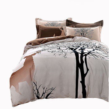 Christmas bedding set cotton-deer&tree natural duvet cover set queen/king size sanding/peach fabric pillowcases quilt bed sheet