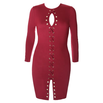 Gold Hardware Criss Cross Lace Up Dress, Burgundy