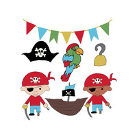 Pirate Clip Art, Pirate Clipart Boys Birthday Party Graphics Royalty Free Digital Download, Banner Bunting Parrot Hook Ship Pirate's Hat