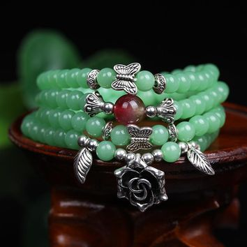 Green Chalcedony 108 Beads Tibetan Buddhist Rosary Necklace