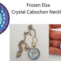 Once Upon A time Fairytale Frozen Elsa Crystal Cabochon Necklace