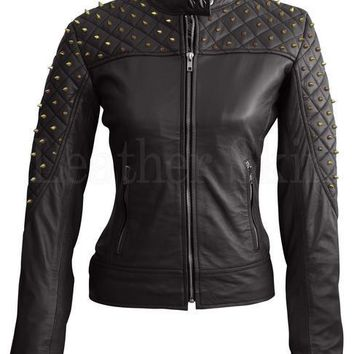 Genuine Leather Plus Size Black Quilted Bikers Jacket With Studs - L-3XL