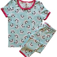 Esme Little Girl's Short Sleeve / Legging Set - Blue Panda