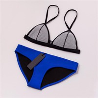 Sexy Mesh Patchwork Triangle Bathing Suit
