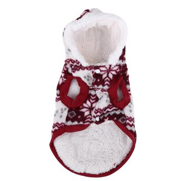 Cozy Hoodie Coat with Snowflakes Stamping, Christmas costume to keep warm your pet during winter