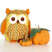 Autumn Owl Pillow,  Plush Owl Rag Doll , Patchwork stuffed owl toy - Orange, green, mustard