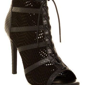 Shari Open Toe Platform Lace Up Perforated Bootie