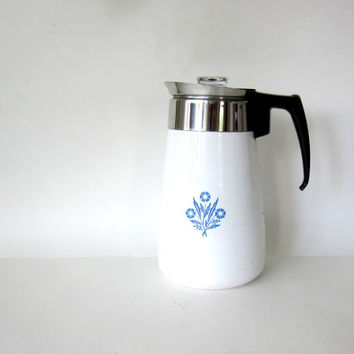 20% OFF SALE Vintage blue and white Corning Ware 9 cup Percolator Coffee Pot Carafe