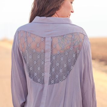 Desperado Lace Back Woven Top in Grey
