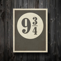 "Minimalist Wall Art / Platform 9 3/4 with Distressed Effect 11"" x 14"" Poster / Typography"