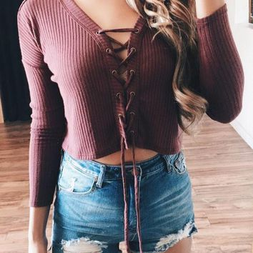 Red Plain Drawstring Crop Lace-up Bodysuit Deep V-neck Cute Teens Sweater