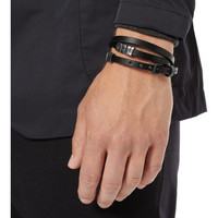 Bottega Veneta Leather and Oxidised Sterling Silver Wrap Bracelet | MR PORTER